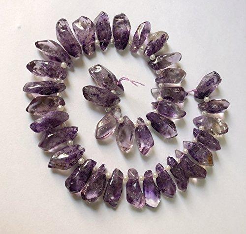 Dyed Beads (Realgem-polished Natural raw amehtyst quartz crystal beads dyed amethyst necklace beads 16