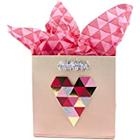 Signature Small Heart Gift Bag with Tissue Paper for Valentine's Day, Anniversary, Bridal Showers, and More (Heart) - 5VXS1714