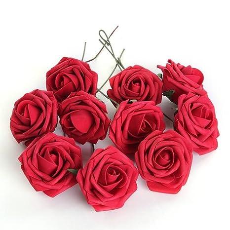 Doyeemei Bouquet 10pcs Fleur Artificiel Roses En Mousse Deco Mariage