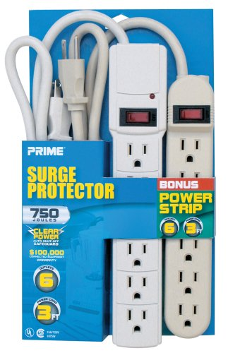 Prime PBCB0004 Six-Outlet 750-Joule Surge Strip with Six-Outlet Power Strip, Combo Pack, White