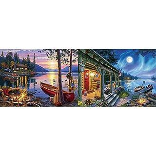 Buffalo Games - Darrell Bush - Canoe Lake - 1000 Piece Jigsaw Puzzle & Darrell Bush - Moonlight Lodge - 1000 Piece Jigsaw Puzzle
