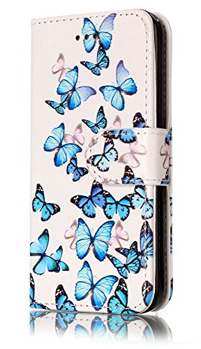 iPhone 5C Wallet Case, iPhone 5C Case, 5C Case,JanCalm Butterfly Pattern Premium PU Leather Wallet [Card/Cash Slots] STAND Magnetic Flip Folio Case Cover for Apple iPhone 5C + Crystal pen (Butterfly)