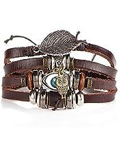 Multilayer lederen armband gevlochten handgemaakte ster touw wrap armbanden voor mannen vrouwen; Armbanden mannelijk geschenk