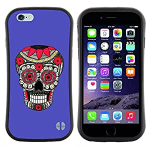 "Pulsar iFace Series Tpu silicona Carcasa Funda Case para Apple iPhone 6 / 6S (4.7 INCH) , Modelo púrpura Cráneo floral Muerte"""