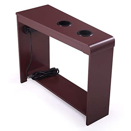 Amazoncom Tobbi Small End Table Wooden Chairside Table With 2 Usb