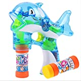 Lanlan Dolphin Bubble Gun with LED light and Music for Boys and Girls With Two Bottles of Water Blue