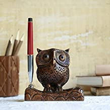 Wooden Pen Holder Organizer Desk Decoration For Home and Office (Owl Collection)