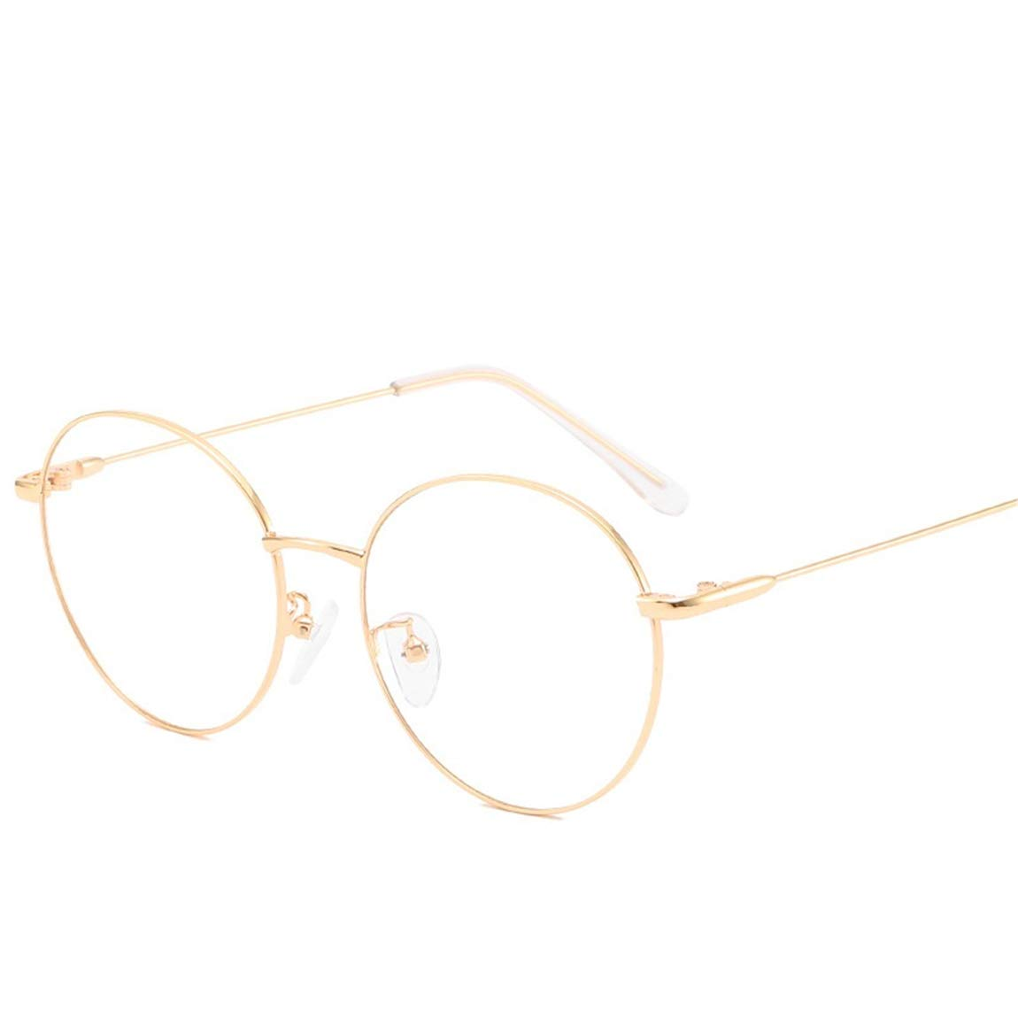 JIUPO Unisex Silber Und Schwarz Brille Ohne Sehst/ärke Beatles Retro Runde Sixties Style Metall Brillen Klare Linse