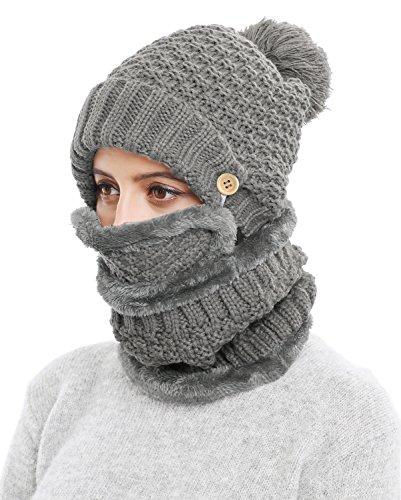 Knit 3 Piece Set - 3-Pieces Winter Hat Scarf Mask Set Thick Knit Hat Warm Snow Ski Skull Cap for Men Women, Dark Gray
