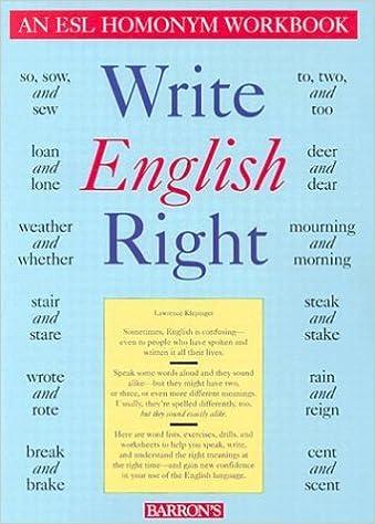Write English Right: An ESL Homonym Workbook: Lawrence Klepinger ...
