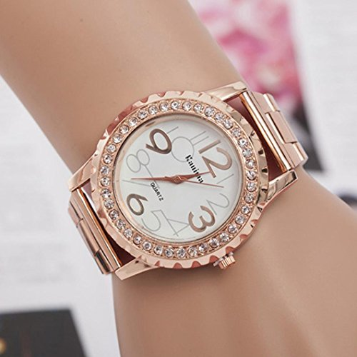 Price comparison product image Teresamoon watch , Women's Men's Fashion Casual Crystal Stainless Steel Analog Quartz Wrist Watch (Rose gold)