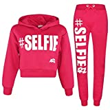 A2Z 4 Kids Kids Girls Tracksuit Designer #Selfie Print Hooded Crop Top Bottom - T.S Crop #Selfie Pink_11-12