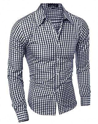 WSPLYSPJY Men's Cotton Long Sleeve Plaid Slim Fit Button Down Dress Shirt