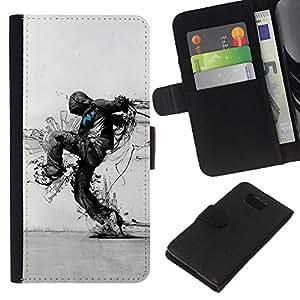 KLONGSHOP // Tirón de la caja Cartera de cuero con ranuras para tarjetas - Arte Protección de la Naturaleza Distruction Ecológica - Samsung ALPHA G850 //