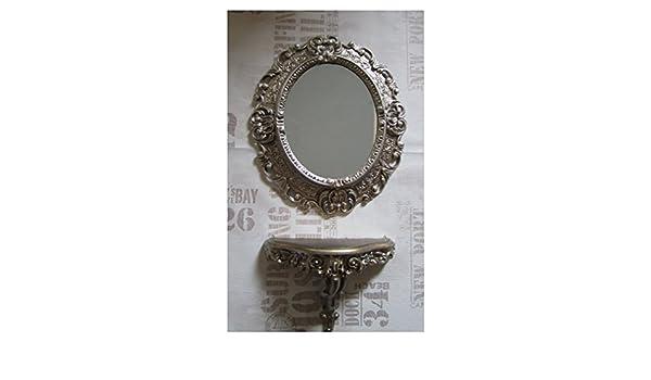 Arte Y Antigüedades Espejo De Pared Plata Envejecida Ovalado 45 X 38cm Barroca Antiguo Reproducción