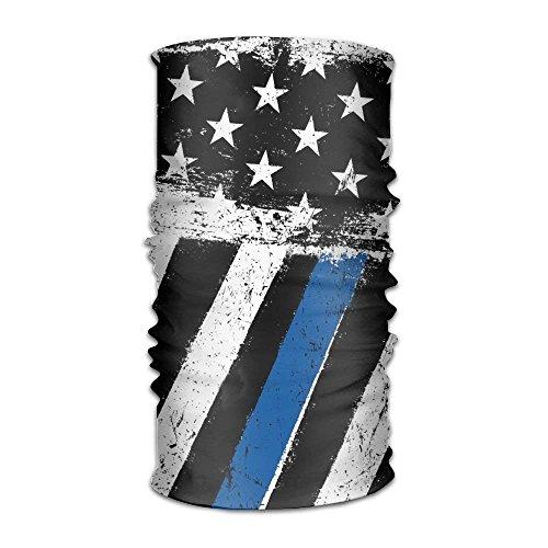 Women Men American Flag Thin Blue Line Fashion Headscarf Outdoor Sport Headwear Bandanas Multifunction Magic Scarf,Neck Gaiter,Hand Wrap,Neck Balaclava for UV Resistence