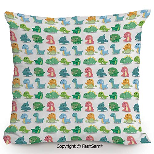 """Polyester Throw Pillow Cushion Colorful Dinosaur Pattern Beast Fantasy Primeval Times Happiness Kids Toys Decorative for Sofa Bedroom Car Decorate(16"""" Wx16 L)"""