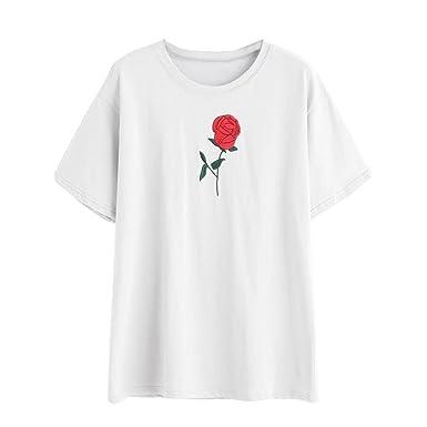 466011d03ae24 Bonjouree Shirt Femme Tee-Shirt Chic Imprimé Rose Tops Blouse Manche Courte  (S
