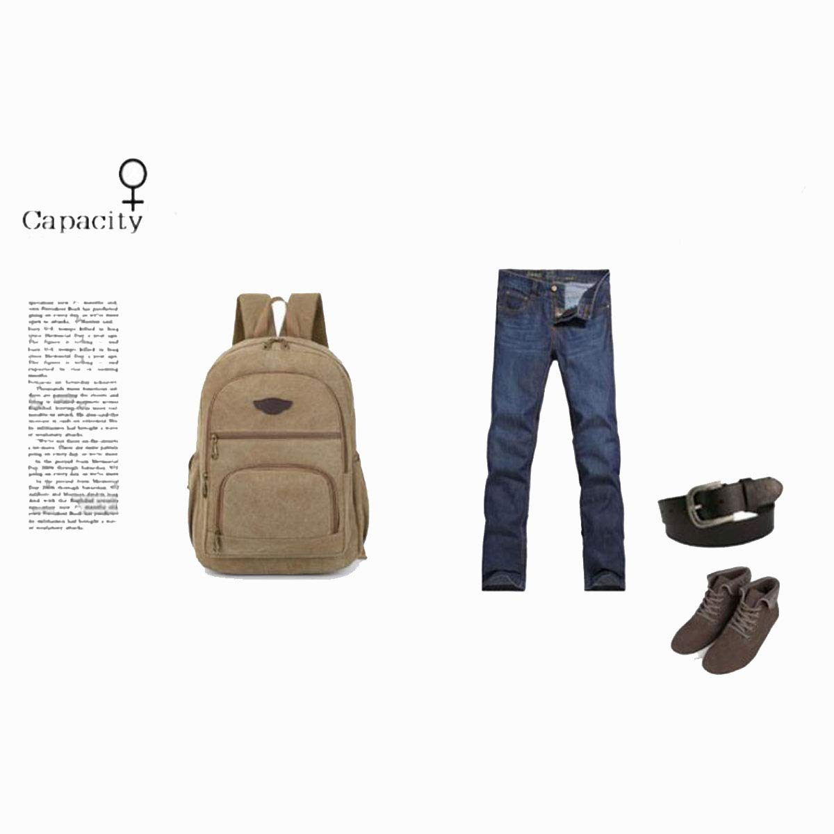 Color : Khaki Brown Chenjinxiang01 Large-Capacity Sports and Leisure Canvas Backpack