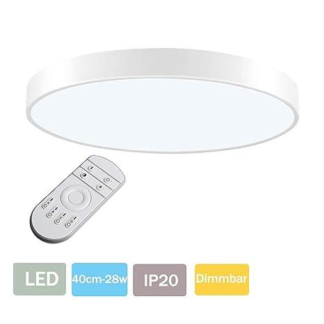 LED Lámpara de Techo 28W Plafón Led de Techo 1680Lúmenes Regulable 3000-6000K Φ40cm Redonda Moderna Cocina Balcón Pasillo Baño Iluminación Interior