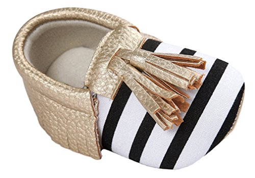 Vanbuy Baby Soft Sole Leather Stripe Tassels Shoes Boys Girls Loafers Toddler Crib Shoes Moccasins WB02-Gold-L (Footwear Gold Leather Soft)