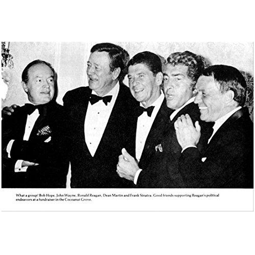 John Wayne Photo 8 inch x 10 inch PHOTOGRAPH True Grit The Shootist B&W Pic w/Bob Hope, Ronald Reagan, Dean Martin & Frank Sinatra All Happy kn