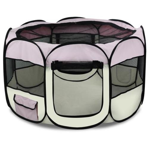 [Eight24hours Pet Dog Cat Playpen Tent Portable Exercise Fence Kennel Cage Crate Pink - M] (Animal Costumes Coupon Code)