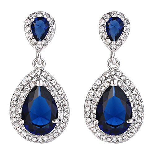 Sapphire Austrian Crystal Earrings (EVER FAITH Women's Austrian Crystal Cubic Zirconia Tear Drop Dangle Earrings Sapphire Color Silver-Tone)