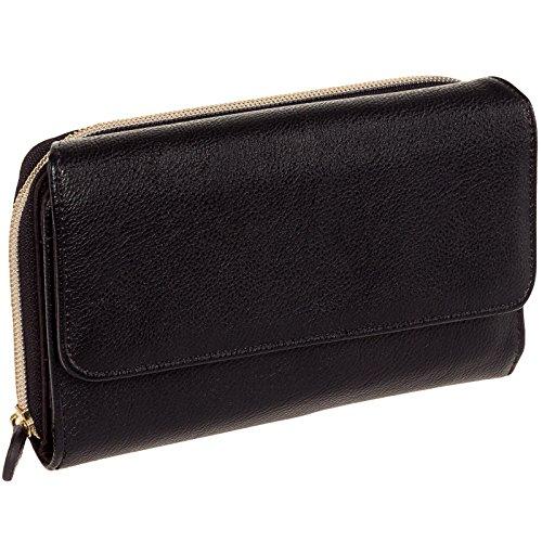 Mundi Womens My Big Fat Clutch Wallet w/ Calculator & Gold Hardware (Black Pebble)