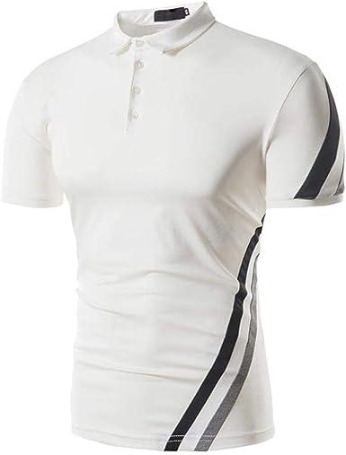 Camisa Polo De Camisa Los Polo De Hombres Manga Mode De Marca Corta A Rayas De Verano Camisa Musculosa Blusa Pullover Top Camiseta Polo Básico Vintage: Amazon.es: Ropa y accesorios