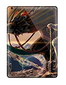 Ipad Air Case Cover - Slim Fit Tpu Protector Shock Absorbent Case (animal Armor Crimson Dragons Dragon Landscape Scenic Tagme Fantasy)