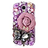 KAKA(TM) Fashion Pink Flower Black Butterfly Pattern 3D Handmade Rhinestone Bling Crystal Pearl Rose Red Flower Transparent Case Cover Clear Hard Case for Samsung Galaxy Mega 6.3 i9200
