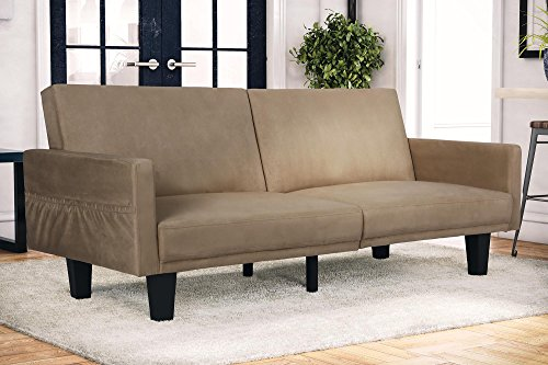 DHP Metro Split Modern Futon with Storage Pocket, Upholstered in Microfiber, Multifunctional, Tan