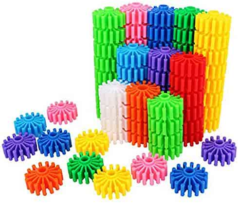 Gears Interlocking Building Set, 80 Pcs Gears Building Set ,10 Color Building Blocks Puzzles Educational Learning Toys Interlocking Solid Gear Set Preschool Gifts for Boys Girls Safe Kids Material