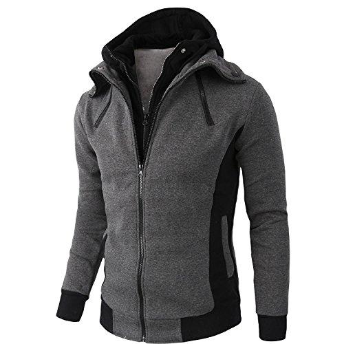 Kool Classic Men's Men's Cotton Double Full Zippered Fleece Hoodie Coat Jacket Grey XL