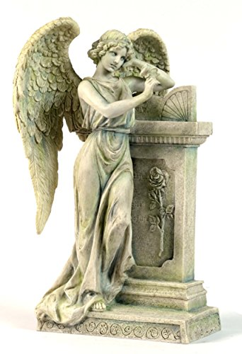 10.63 Inch Angel Leaning on Tombstone Statue Figurine, Faux (Faux Marble Statues)