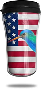 CZJAHBL Colorful Hummingbird American Flag Travel Coffee Mug Delicate Printing Portable Vacuum Cup,Food Grade Abs Insulated Cup Anti-Spill(8.8 Oz)