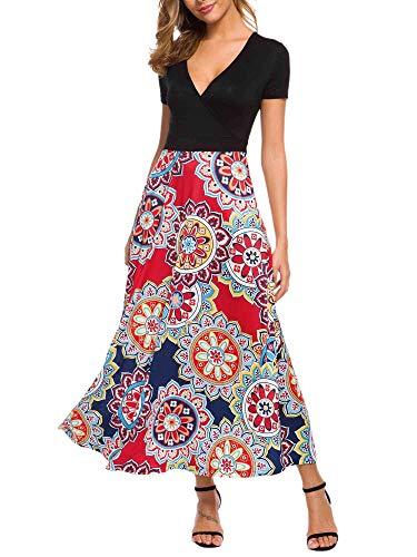 HUHOT Women Vneck Maxi Dress,Short Sleeves Floral Empire Waist Long Flowy Dresses for Petite Medium 19112-1