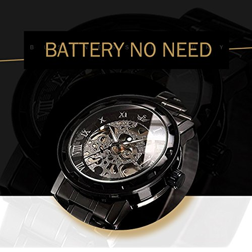 Watches,Men's Skeleton Mechnical Classic Hand-wind Movement Analog Display Watch With Link Bracelet (Black)