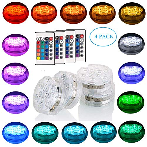 Submersible LED Light Kitosun Underwater Waterproof Centerpieces Lights with Remote Controller Battery Powered Pool Lights for Halloween Christmas Wedding Party Home Decor(4 Pack)