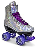 Sure-Grip Prism Sparkling Unisex Roller Skates - Indoor Outdoor Skates with Vegan Silver Reflective Boot - Made in USA