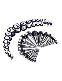 BodyJ4You 36PCS Gauges Kit Stainless Steel Tapers Acrylic Plugs 14G-00G Ear Stretching Set Jewelry