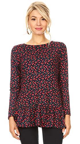 Cherry Ruffle Shirt for Women Cute Long Sleeve Shirts for Women Tunic Tops for Women Plus Size and Reg (Size X-Large US 12-14, Navy - Red Cherries) ()
