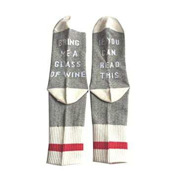 FOONEE Calcetines de Cerveza, algodón Casual, Medias - si Usted Puede Leer Esto, traer un Vaso de Vino - Calcetines Divertidos para Hombres y Mujeres Gris ...