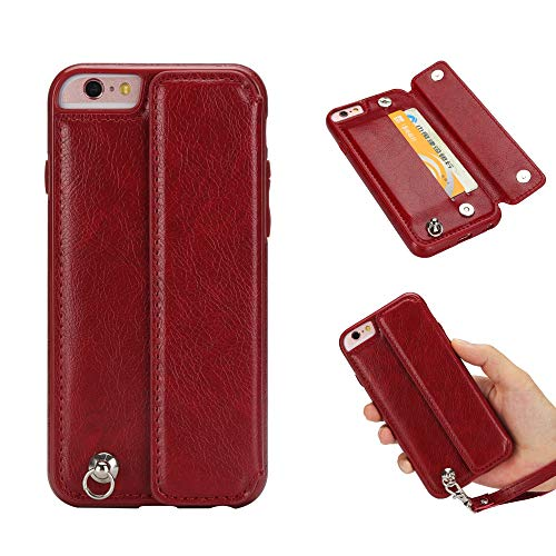 Price comparison product image Ostop Leather Wallet Case for iPhone 6S,iPhone 6 Case, Credit Card Holder Slim PU Shell with Kickstand,Magnetic Clasp Flip Cover with Wrist Strap Dual Layer Shockproof Protective-Matte Red