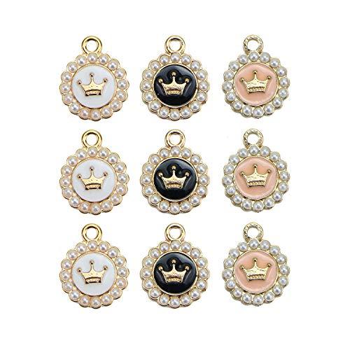 Monrocco 15Pcs 3 Color Enamel Crown Charm Alloy Crown Charm Pendants for Jewelry Making Bracelet Necklace (Pink, White, Black)