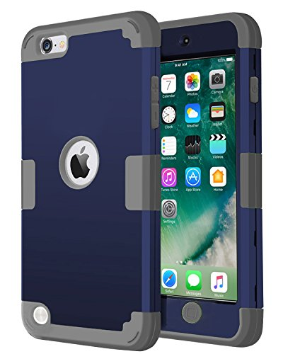 od Touch 5 Case, Jwest [Pinky Series] 3-Piece Style Hybrid Hard Case Cover for Apple iPod touch 5 6th Generation (Navy Blue+Grey) ()