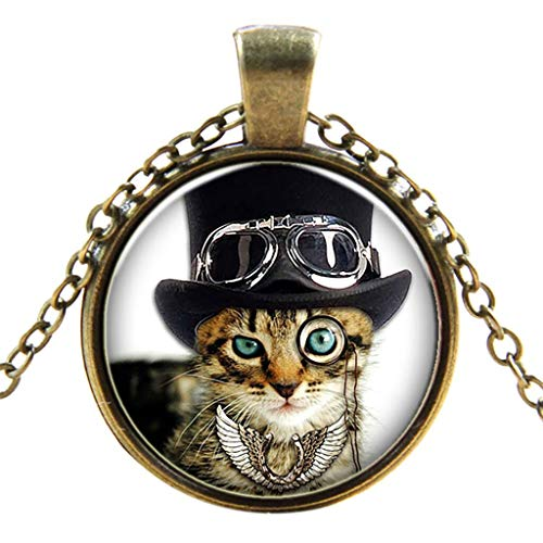 Lady Jewellery Hanger - Nadition Fashion Necklace  Women Girls Retro Punk Glass Round Black Cool Cat Necklace Ladies Jewelry (Multicolor)