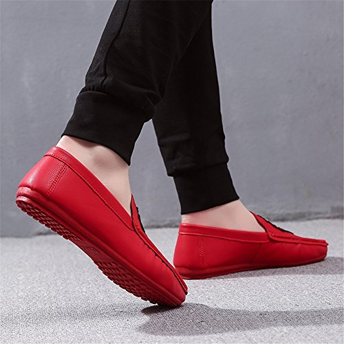 Verano Slip Mocasines Aire Al Rojo Hombres y de PU Los Informal Libre Zapatos y Oficina Carrera HUAN Para Ons Negro wf8qgc