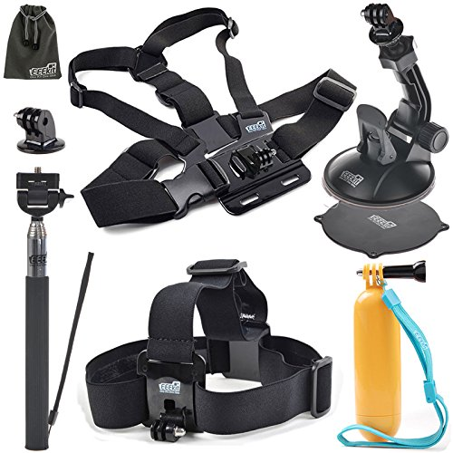 EEEKit 8-in-1 Accessories Kit for Gopro Hero4 BlackSilver Hero HD 3321 Camera Head Belt Strap Mount Chest Belt Strap Mount Extendable Handle Monopod  Car Suction Cup Mount Holder  Floating Handle Grip  2 PCS Tripod Mount Adapter2 PCS Gopro ...
